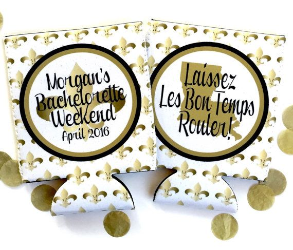 New Orleans Party koozie. gold and white NOLA Bachelorette favors. Nola party favors.