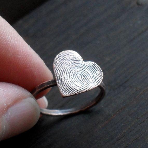 custom fingerprint heart ring. cute idea