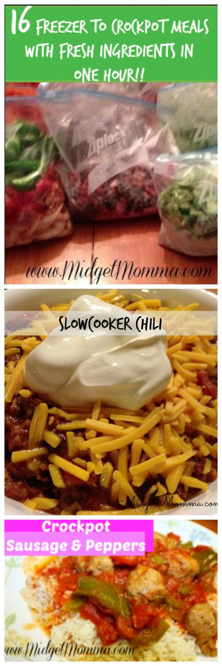 Freezer to Crockpot meals: Prep 16 meals with fresh ingredients in about an hour! Easy to prep meals to put in your freezer and then cook in your crockpot