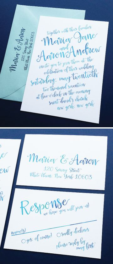 NEW Maria Aqua Blue Watercolor Calligraphy Script Beach Wedding Invitation