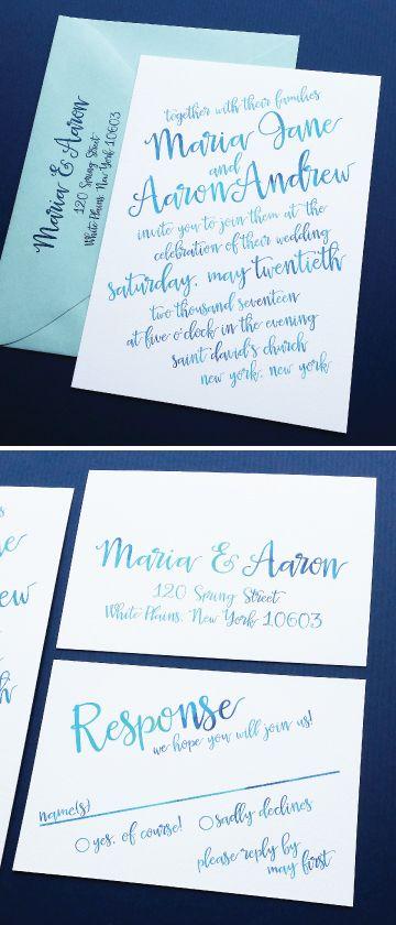 NEW Maria Aqua Blue Watercolor Calligraphy Script Beach Wedding Invitation