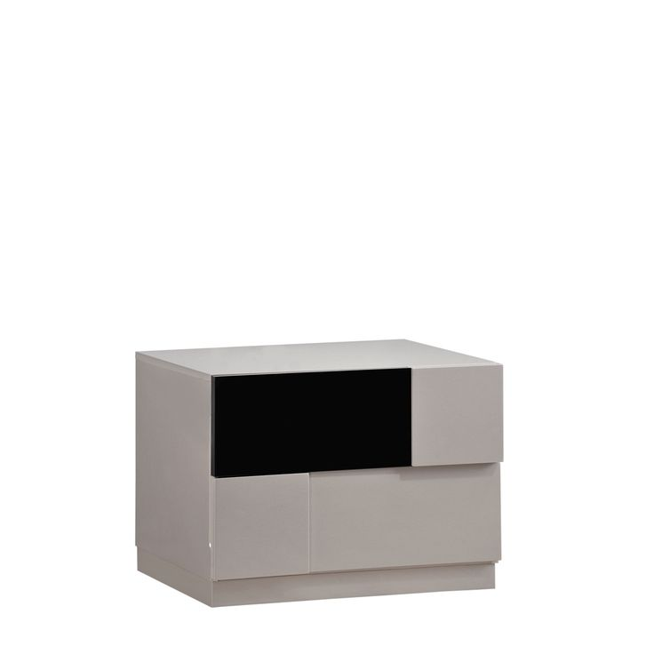 Global High Gloss and Black Nightstand