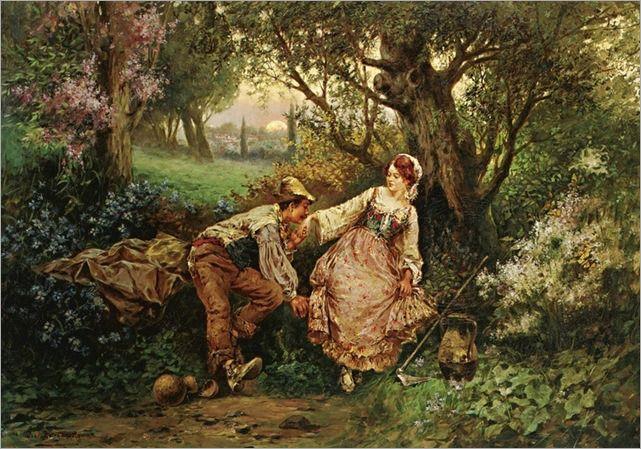 Giacomo Burgonetto (19th Century) - Flirtation by Sothebys
