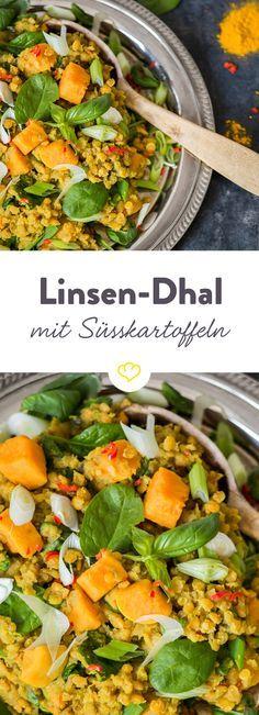 Dieses One-Pot Linsen-Dhal mit Spinat und Süßkartoffeln ist reich an Antioxidantien und schmeckt dabei auch noch himmlisch gut.