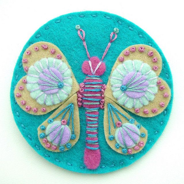 Butterfly felt brooch NO TUTORIAL. SEVERAL EXAMPLES OF OTHER LIKE TYPE ITEMS SHE HAS MADE....made by Jane