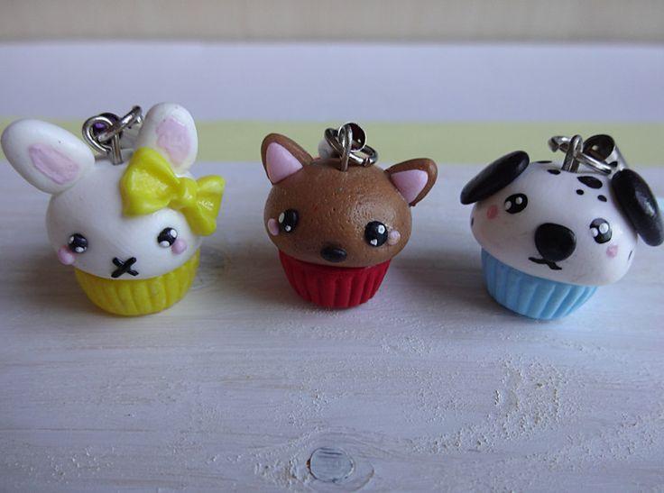 Kawaii & Candy Anhänger - Cupcake Tiere Anhänger aus Fimo - ein Designerstück von cookielus-cakes-and-sweets bei DaWanda