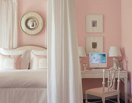Blush pink and white bedroom