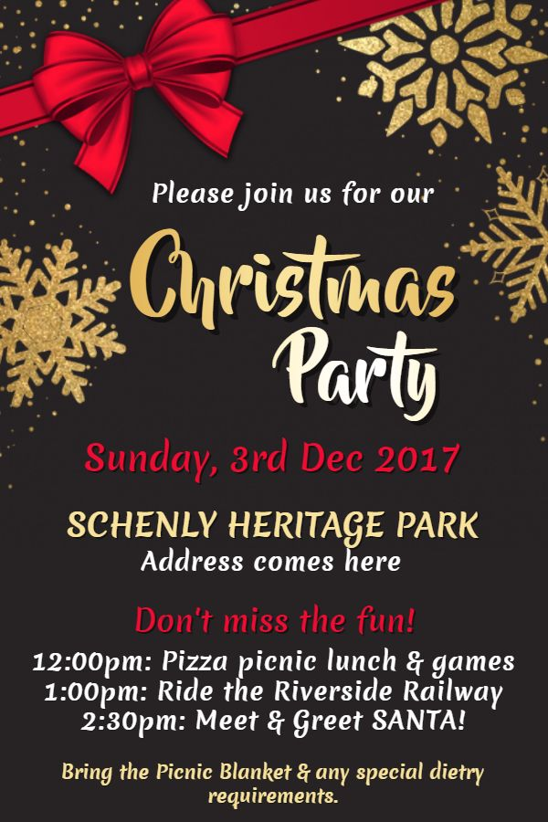 Black and yellow Christmas party invitation flyer poster social media graphic design template