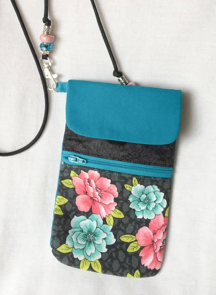 Teal Floral Cell Phone Pouch, Teal and Pink Flower Zipper Pouch, Card Holder, Large Cross Body Cell Phone Pouch