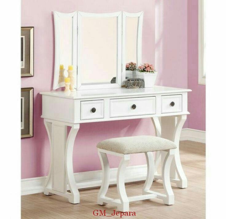 Meja Rias Putih Cross Leg, meja rias jati, meja rias lampu, meja rias modern, meja rias kayu, meja rias hello kitty, meja rias anak