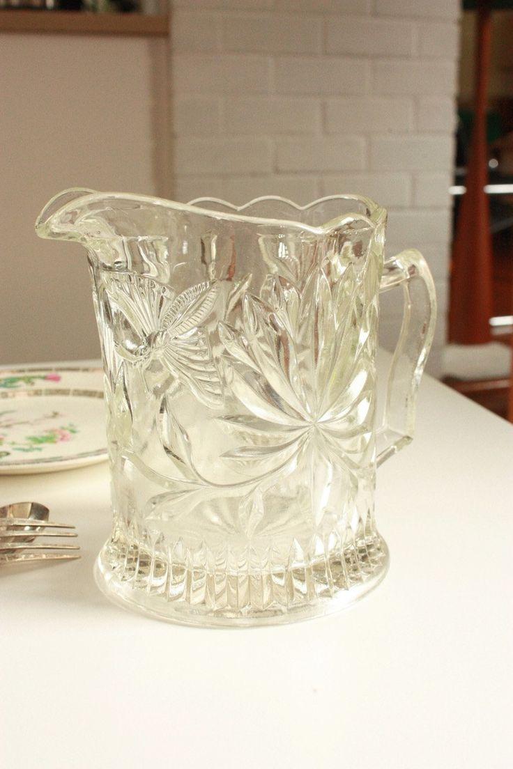 Vintage Pressed Glass Water Jug Decorated with Butterflies and Flowers by TriBecasVintage on Etsy