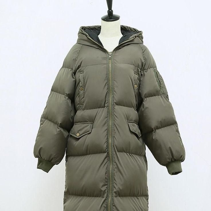 Women'S Outdoor Parka Thick Loose Hooded Cotton Long Coats Warm Puffer Jacket