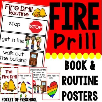 Fire Drill book (social story), routine, and posters to support preschool, pre-k, and kindergarten students at the beginning of the year.