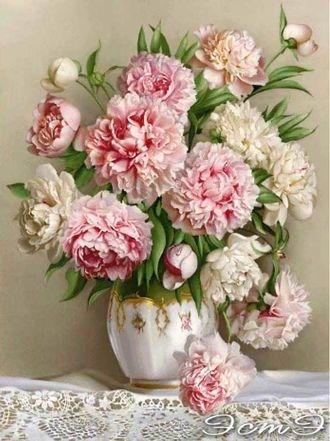 Нежно-розовые пионы Раскрашивание по номерам Paintboy