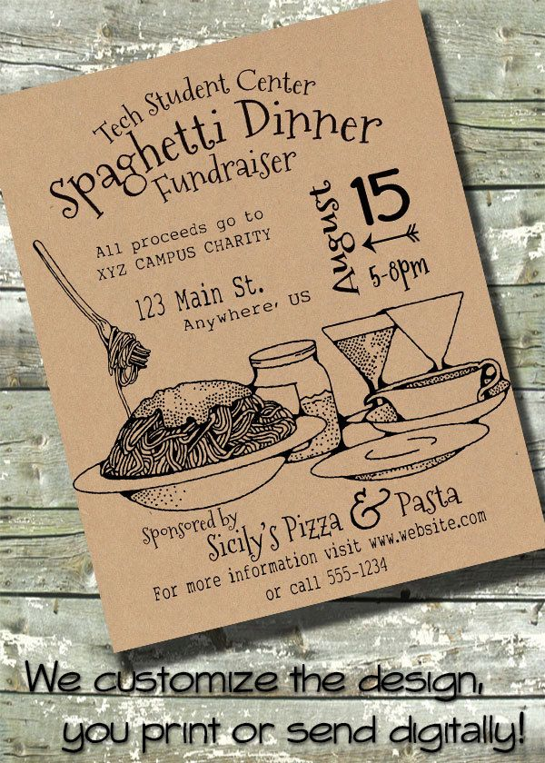 "SPAGHETTI DINNER FLYER 8.5""x1"" Event Poster Digital 5""x7"" Invite Invitation Sign by DitDitDigital on Etsy"