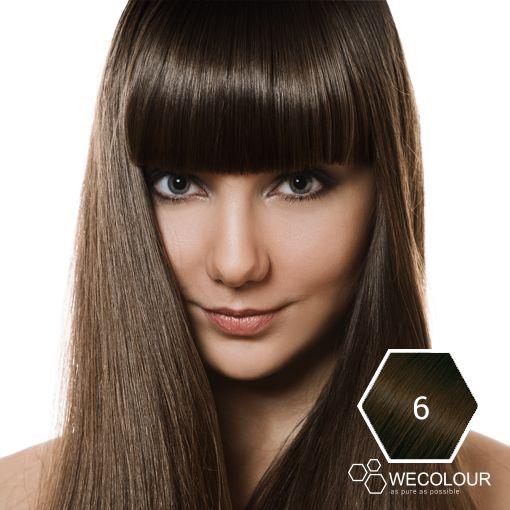 Een prachtige natuurlijk lichtbruine haarkleur met haarverf van WECOLOUR, 6.0 zonder ammonia en ppd. 100% grijsdekking, prachtige glans en de kleur blijft lang mooi.