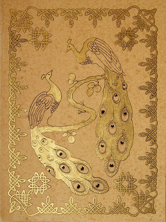 """Peacocks"",golden grafic art, size 24x30cm., by Alexey Volgutskov"