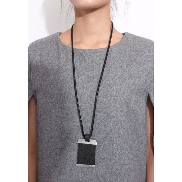 Imitated Leather Plate Necklace with Anti-Silver Mertal Frame. Adjustable. One Size Fits All.