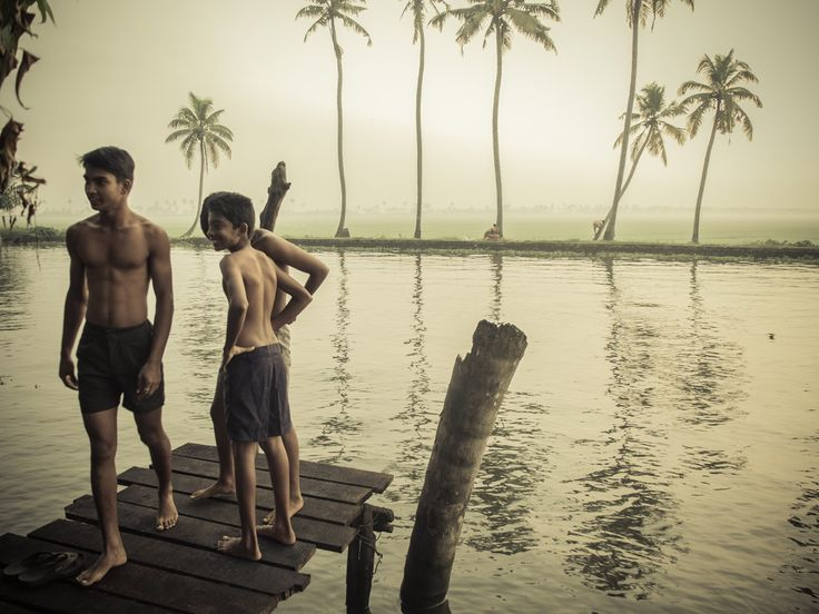 Swimmer boys by the backwaters of Kerala. Fujifilm x20