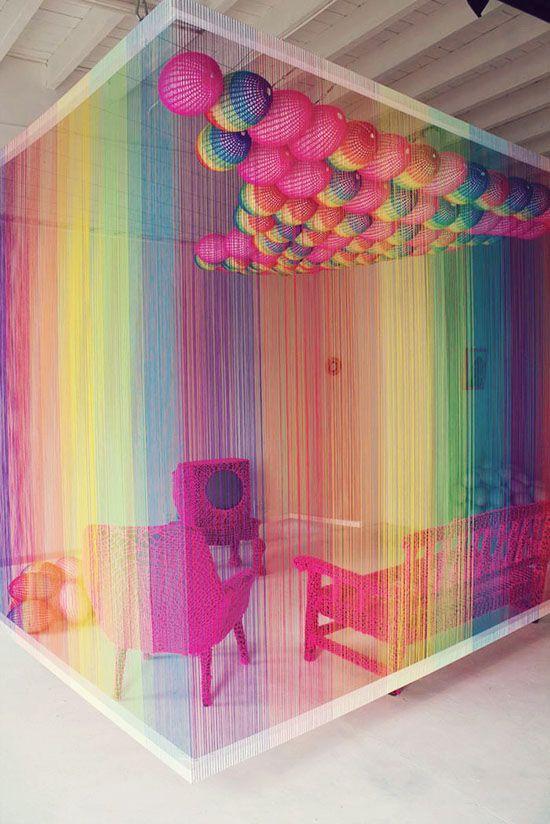 Yarn bombed room.