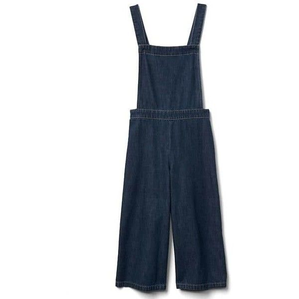 Gap Women Denim Culotte Overalls (11.015 HUF) ❤ liked on Polyvore featuring jumpsuits, dark indigo, tall, blue jumpsuit, blue wide leg jumpsuit, blue denim overalls, denim overalls and gap overalls