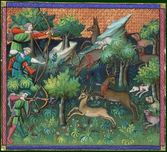 BNF - Le livre de chasse de Gaston Phebus.  Département des manuscrits, Français 616 folio 11v.