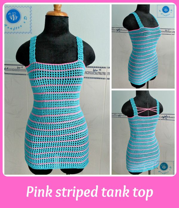 Pink Striped Crochet Tank Top | AllFreeCrochet.com I could make this of fine yarn& make it longer for a slip