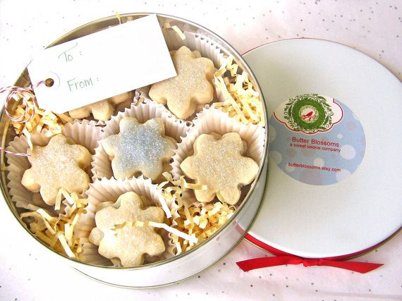 Christmas Cookies Gift Tin  Snowflake Shortbread by ButterBlossoms, $25.00