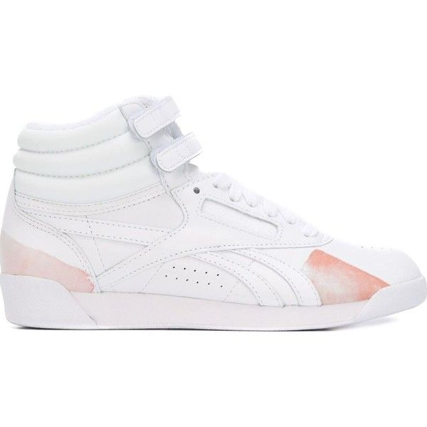 Reebok FACE Stockholm X Reebok Freestyle Hi Spirit Hi-Top Sneakers ($87) ❤ liked on Polyvore featuring shoes, sneakers, white, white shoes, reebok high tops, white high top shoes, white sneakers and white hi tops