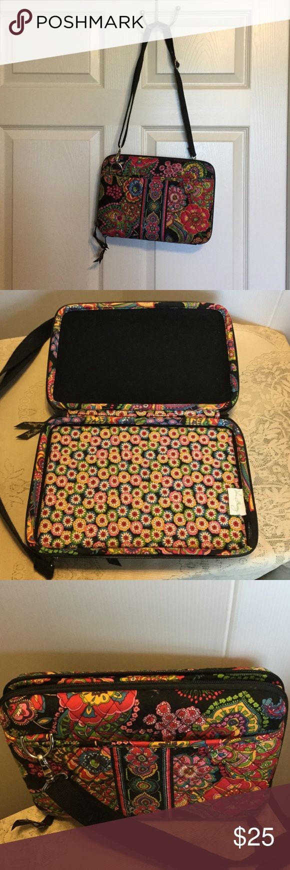 "Vera Bradley iPad Case This case is for a large iPad or a small computer.    It is 11 inches long and About  7 1/2"" to 8""i wide.  In excellent condition zipper pocket in front and additional pocket in the back Bags Mini Bags"