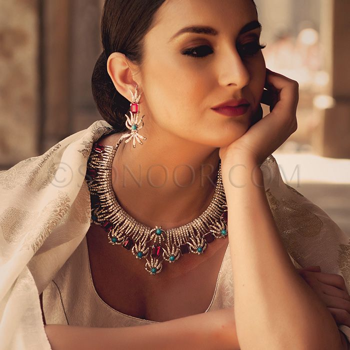 Nec/1/3712 Nibina Necklace Set with Earrings in silver rhodium finish studded with turquoise, red agate stones and cubic zircons