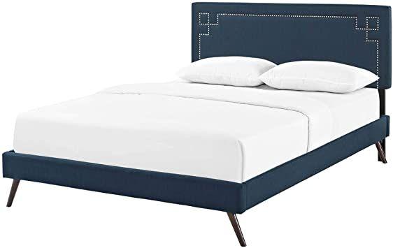 Modern Contemporary Urban Bedroom King Size Platform Bed Frame Fabric Copper Nail Rivet Navy Blue In 2020 Urban Bedroom King Size Platform Bed Platform Bed Frame