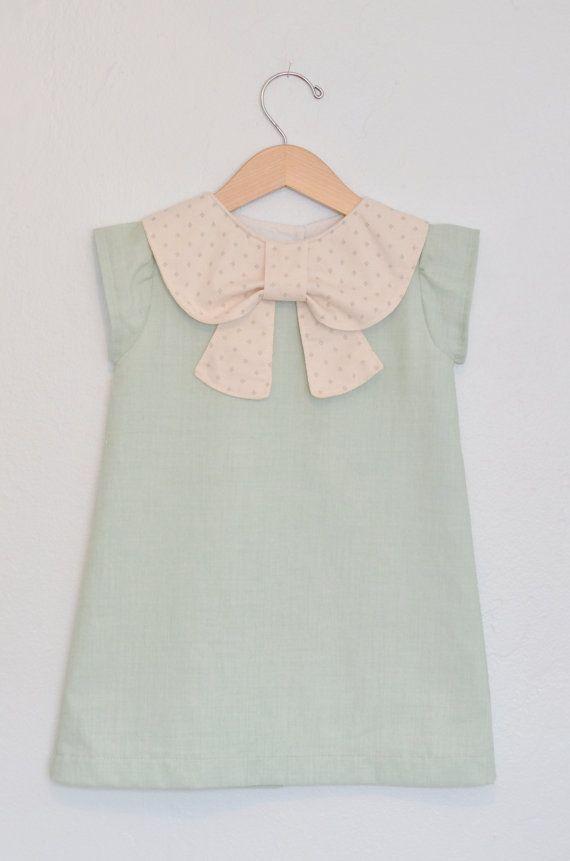 Mint Big Collar Bow Dress... Baby Dress Check more at http://www.newbornbabystuff.com/mint-big-collar-bow-dress-baby-dress/