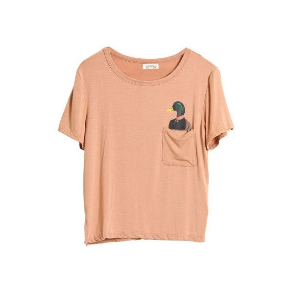 Duck Printed Pocket Nude T-shirt ❤ liked on Polyvore featuring tops, t-shirts, shirts, t shirts, nude shirt, red top, red tee, printed pocket tees y shirts & tops