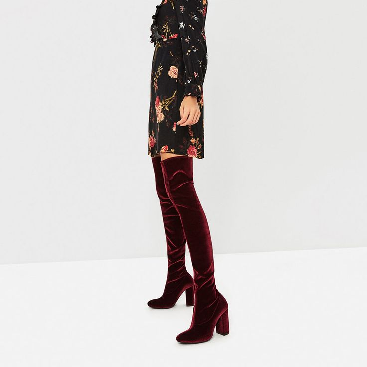 Image 1 of VELVET OVER THE KNEE HIGH HEEL BOOTS from Zara