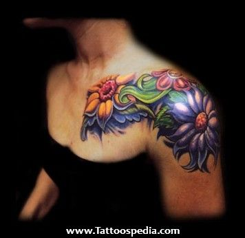 daisy flower shoulder tattoos | Share this:
