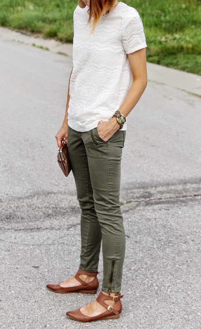 Cream lace tee, olive skinnies, ankle strap flats @singsarahsing , these jeans are like our grey ones!