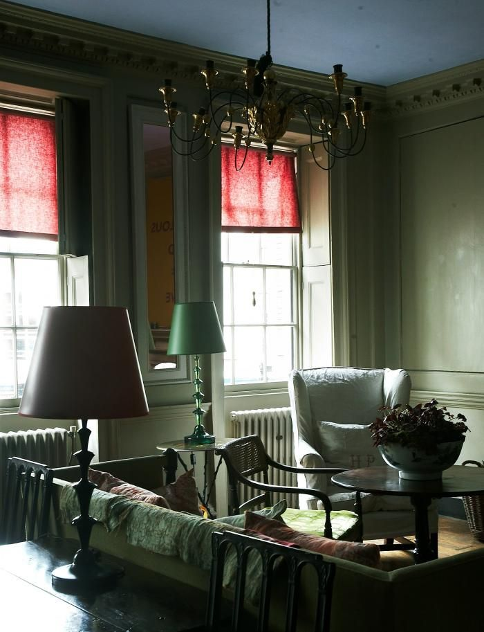 The 18th century Spitalfields home, showroom and studio of designer Marianna Kennedy,  Throughout the interiors of the four-story house, Kennedys own handmade lacquered tables, lamps, and mirrors appear like rainbow-hued quotation marks.  via Remodelista
