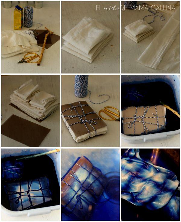 Cómo hacer un mantel con teñido japonés shibori