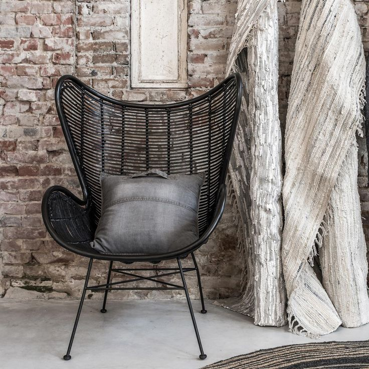 recline in retro style with this rattan egg chair in black straight