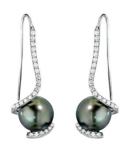 Tahitian Pearl Diamond Swirl Earrings