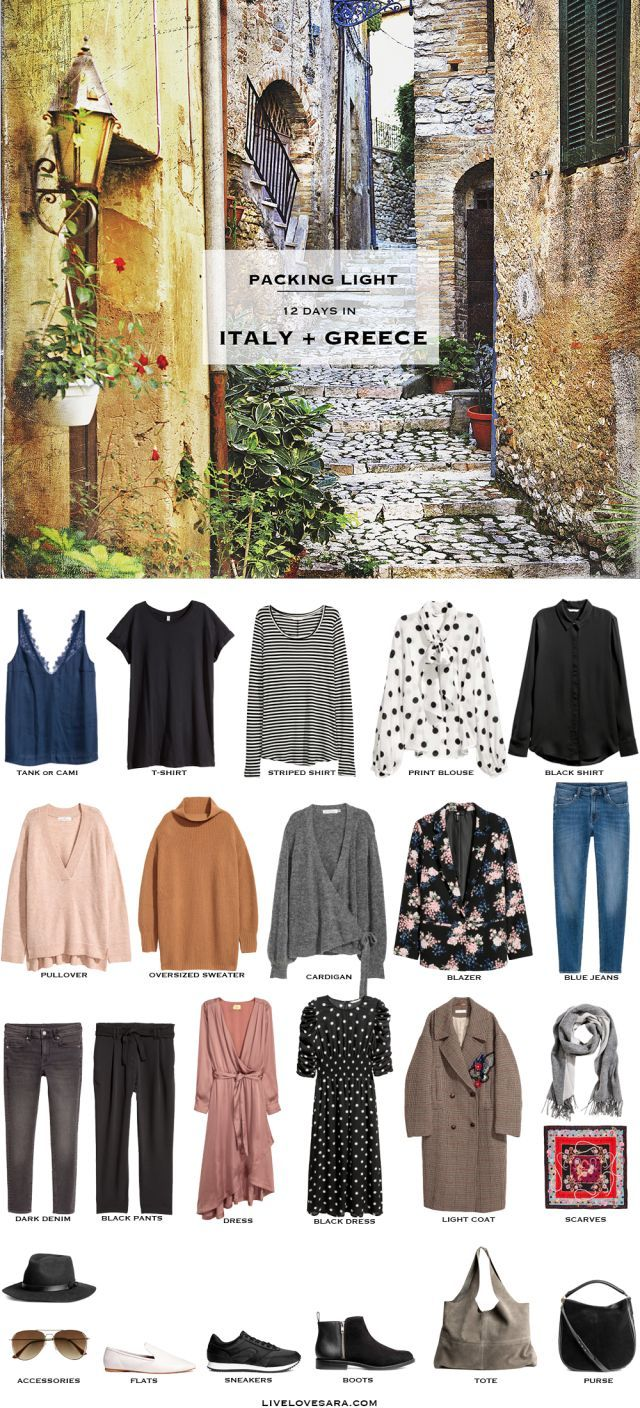 What to Pack for 12 Days in Italy and Greece Packing Light List #packinglist #packinglight #travellight #travel #livelovesara #capsule #capsulewardrobe