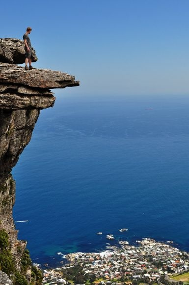Amazing view of the Atlantic Ocean after hiking up from the Constantia Nek side of Table Mountain, South Africa