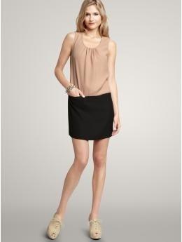 Colorblock pleat-neck dress   Gap - StyleSays