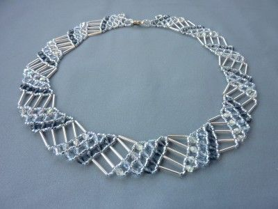 DIY Jewelry: FREE beading pattern for geometric collar necklace made from seed beads, bugle beads, and 4mm crystals. Great beading project for a beginner!