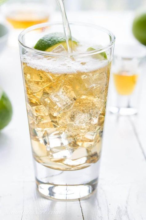 Jameson & Ginger Ale ~ a smooth and bubbly grown-up drink made with Jameson Irish Whiskey, bottled ginger ale and plenty of fresh squeezed lime juice. www.savingdessert.com