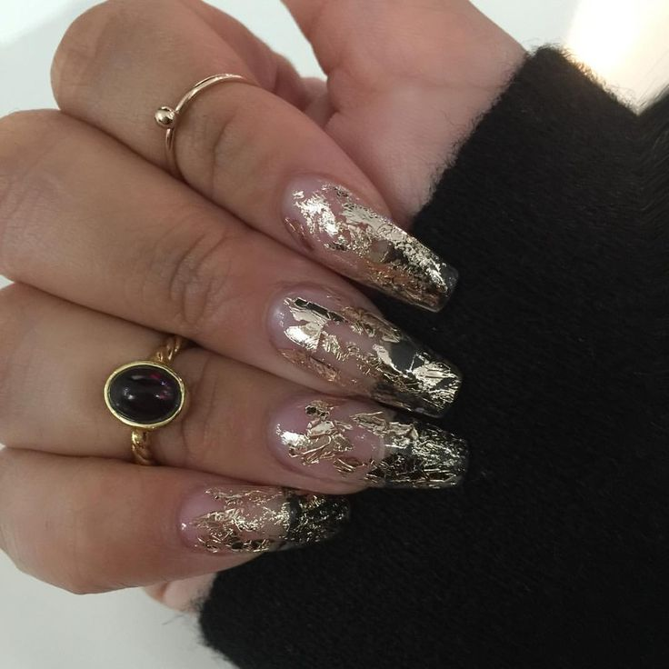 "Clear White Nail Art Ideas: Priscilla Ono On Instagram: ""Love My Clear With Gold Foil"
