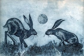 Moonstruck, an original collagraph print  by Kerry Buck