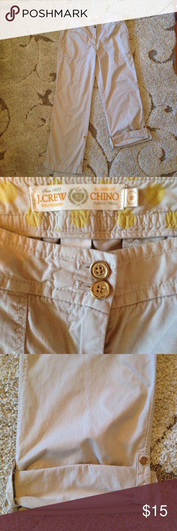 Women's J crew khaki chino pants Women's J crew Chino khaki pants rollup Capri j crew Pants Capris