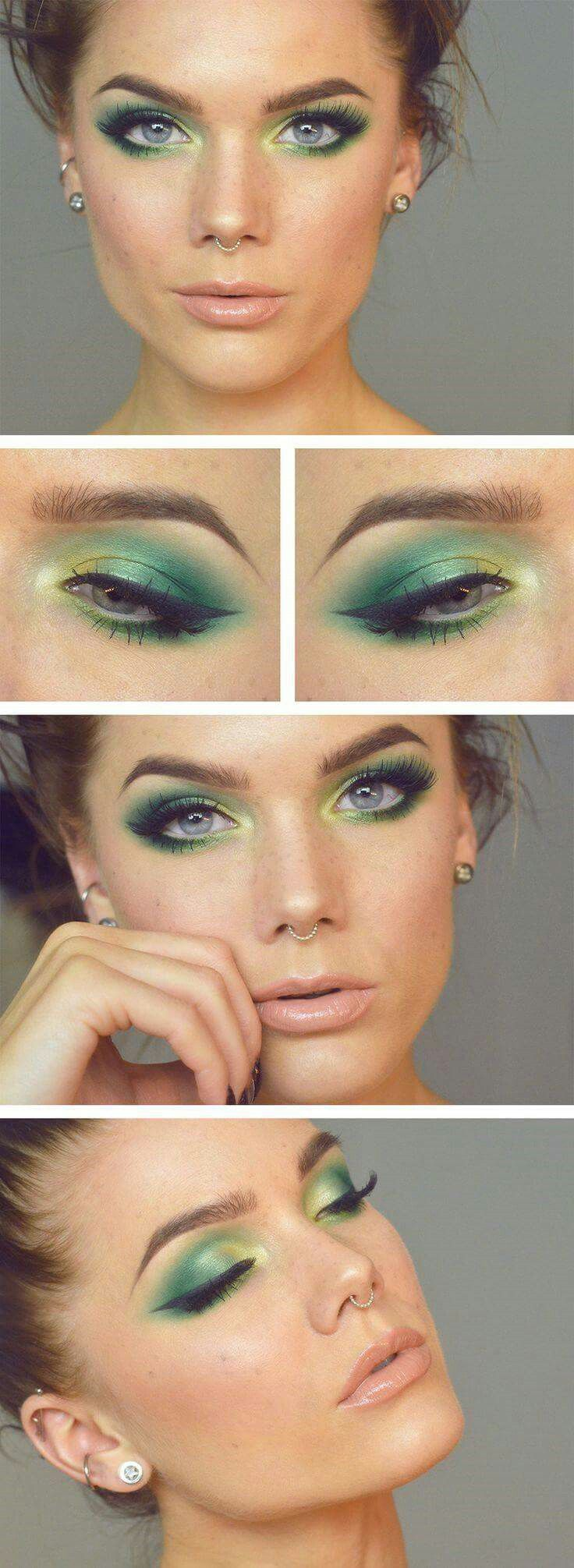 Green and yellow eye makeup